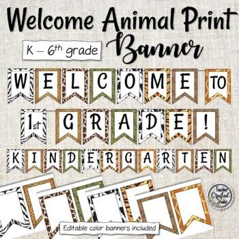 Animal Print Welcome Bulletin Board Banner - Editable Back to School Banner