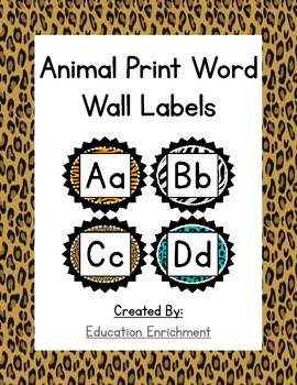 Animal Print Word Wall Labels