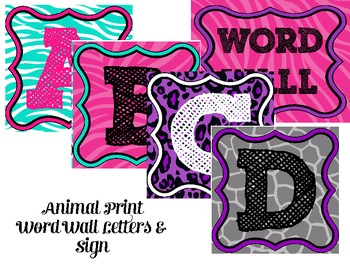 Animal Print Word Wall Letters and Sign