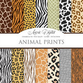 Animal Prints Digital Paper pattern safari scrapbook backgrounds zebra leopard