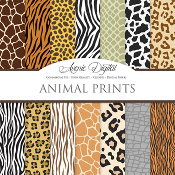 Animal Prints Digital Paper pattern safari scrapbook backgrounds ... ddd2b5362