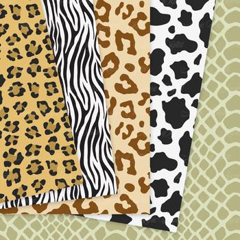 Animal Prints Digital Paper pattern safari scrapbook backgrounds zebra leopard