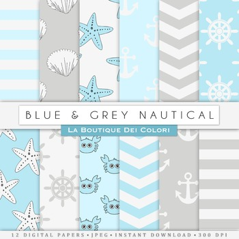 Blue and Gray Nautical Digital Paper, scrapbook backgrounds.