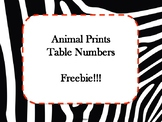 Animal Prints Table Numbers