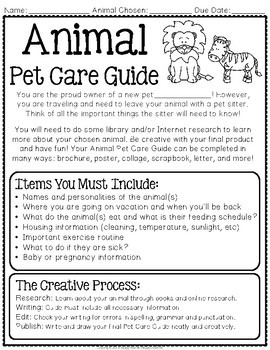 Animal Project: Animal Research: Create an Informative Guide for your New Pet!