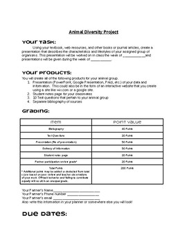 Animal Project Handout Description