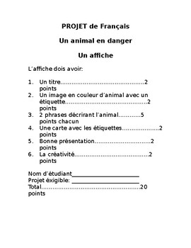 Animal Project for French