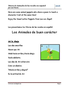 Animal Puppets and Poems Vowel Sounds in Spanish