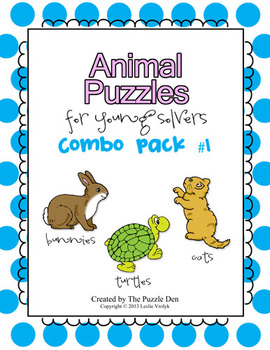 Animal Puzzles Combo Pack - Includes Cats, Bunnies, and Turtles