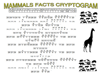 Animal Puzzles (criss-cross & cryptogram with key)