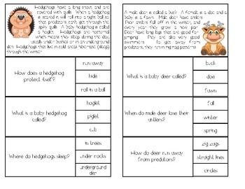 Animal Reading Comprehension Clip Cards FREEBIE