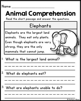 animal reading comprehension passages by kaitlynn albani tpt
