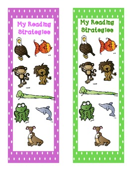 Animal Reading Strategies Bookmarks and Reference Sheet