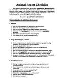 Animal Report Checklist