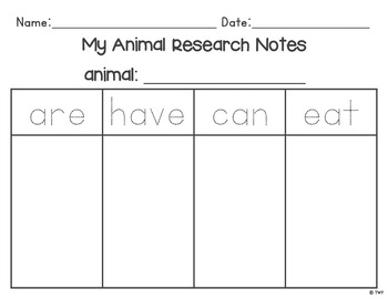 Differentiated Animal Research Report for Kindergarten, 1st Grade, 2nd Grade