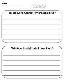 1st Grade Animal Report Informative/Explanatory CCSS