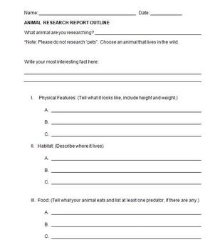Animal Report Graphic Organizer Outline Form