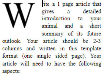 Animal Report Journal Article Template (APA References)
