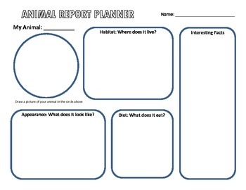 Writing Graphic Organizer - Animal Report