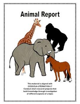 Animal Report Template CCSS.ELA-LITERACY.W.4.7