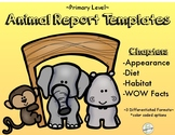 Informational Writing: Animal Report Templates (primary)