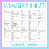 Animal Report Templates Worksheet Layouts Clip Art Set for Commercial Use