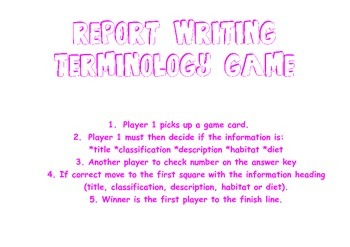 Animal Report Writing Game *title, classification, description, diet & habitat*