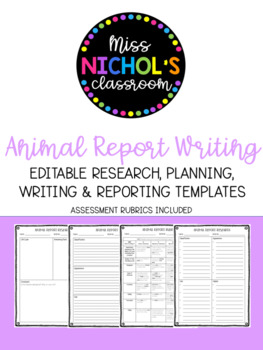 Animal Information Report Writing Pack