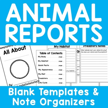 Animal Reports - Blank Templates for ALL Animal Research Projects - Print n Go!