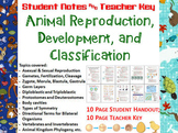 Animal Reproduction, Development, Classification Notes Handout & Teacher Key