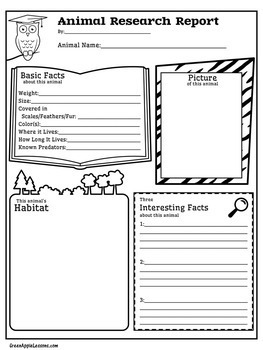 Animal Research Graphic Organizer | Animal Research Template | TpT