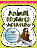 Animal Research: Animal, Ecology, Biome & Habitat Activity
