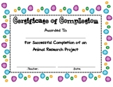 Animal Research Certificate of Completion