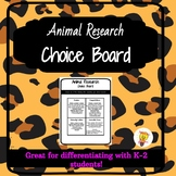 Animal Research Choice Board