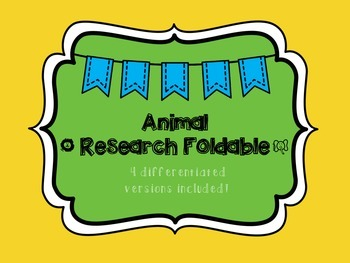 Animal Research Foldable Report Guide: Differentiated Version