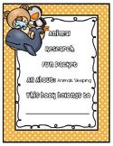 Animal Research Fun Packet - Sleeping Patterns