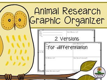 Animal Research Graphic Organizer - 2 versions