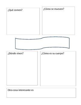 Animal Research Graphic Organizers (Spanish)