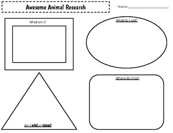 Animal Research Graphic Organizer & Writing Paper