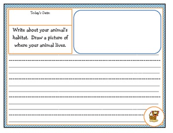Animal Research Journal Jot (Goes along with First Grade ELA Unit 2 of CCS)