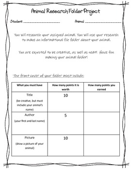 Animal Research Lapbook Information Folder Project