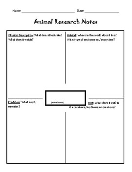 Animal Research Note Taking Form