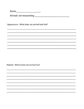 Animal Research Note Taking Paper
