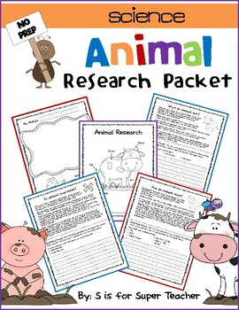 Animal Research Packet- NO PREP - CCSS: Literacy 3.1/3.3