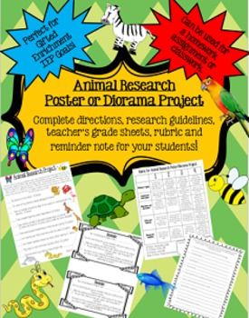 Animal Research Poster or Diorama Project: Perfect for Gifted Enrichment!