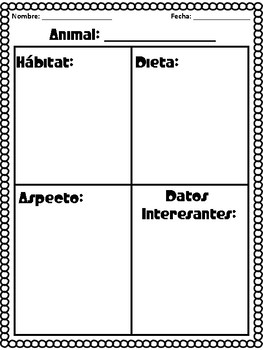 Animal Research Posters and Activity in Spanish
