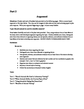 Animal Research Practice Argument for NYS Common Core Rege