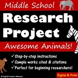 Middle School Research Project - Animals