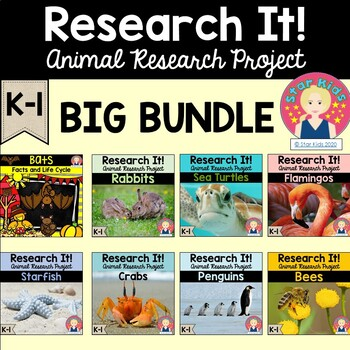 Animal Research Project BUNDLE for K-1 for At Home Learning