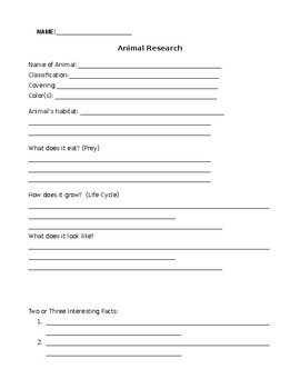 Animal Research Project Form